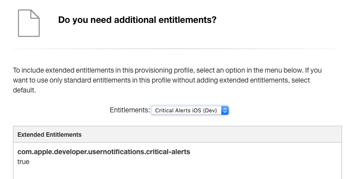 Provisioning profiles with critical alerts